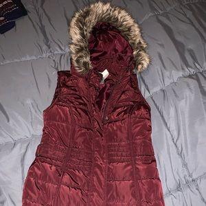 Maurice's long burgundy vest (removal hood)